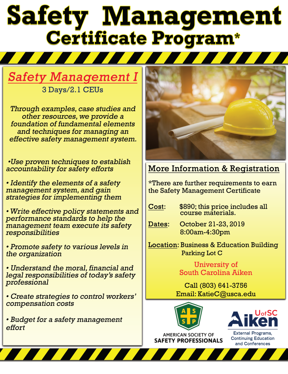 Post Image Safety Management I – Certificate Program Available at USCA